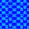 Computer graphics seamless pattern on a blue background Royalty Free Stock Photo