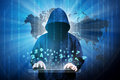 Computer hacker silhouette of hooded man with binary data and network security terms Stock Photography