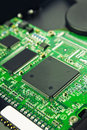 Computer hard disk electronics circuit macro photo Royalty Free Stock Photo