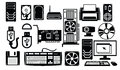 Computer hardware icon vector black set on white Royalty Free Stock Photos