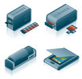 Computer Hardware Icons Set Royalty Free Stock Photo