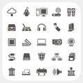 Computer hardware icons set eps don t use transparency Stock Image