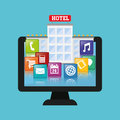 Computer and hotel digital apps design Royalty Free Stock Photo