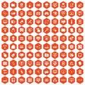 100 computer icons hexagon orange
