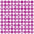 100 computer icons hexagon violet