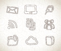 Computer icons over vintage background vector illustration Stock Photography