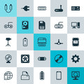 Computer Icons Set. Collection Of Computer Keypad, Camcorder, Network Structure And Other Elements. Also Includes