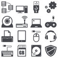 Computer icons set about and technology concept Royalty Free Stock Images