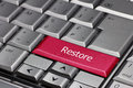 Computer key restore coloured in red Royalty Free Stock Photos
