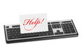 Computer keyboard and card help isolated on white background Royalty Free Stock Images