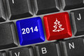 Computer keyboard with christmas keys holiday concept Stock Photos