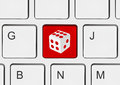 Computer keyboard with dice key Royalty Free Stock Photo
