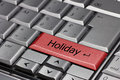 Computer keyboard with holiday key where enter has changed into Stock Photo
