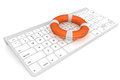 Computer Keyboard with lifebuoy Stock Photos