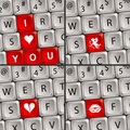 Computer Keyboard with Love Icon Royalty Free Stock Photos