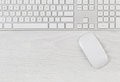 Computer keyboard and mouse on top of white desktop Royalty Free Stock Photo