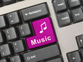 Computer keyboard with music key Royalty Free Stock Photography