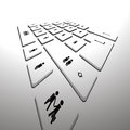 Computer keyboard perspective Royalty Free Stock Photo