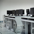 Computer lab rows of neatly placed in a Stock Images