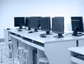 Computer lab rows of neatly placed in a Stock Photography