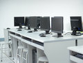 Computer lab rows of neatly placed in a Stock Image