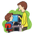 Computer learning a boy how to operating Stock Photography