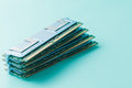 Computer memory modules on the aquamarine background Royalty Free Stock Photo