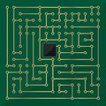 Computer microchip labyrinth abstract art Royalty Free Stock Photography