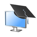 Computer monitor with academic headdress illustration Royalty Free Stock Image