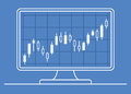 Computer monitor with candle chart of forex or stock data graphic in thin line style. Royalty Free Stock Photo
