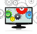Computer monitor and colour cog wheels concept on white background Stock Photos