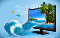 Computer monitor tropical background from travelling vacation water splash Stock Photography