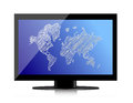 Computer monitor with world map on screen Royalty Free Stock Photo