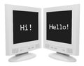Computer monitors on white background Royalty Free Stock Photos