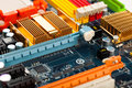 Computer motherboard closeup Royalty Free Stock Photo