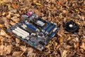 stock image of  Computer motherboard lies in a landfill on the ground in foliage