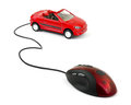 Computer mouse and car Royalty Free Stock Photo