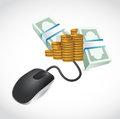 Computer mouse is connected to a big pile of money illustration Royalty Free Stock Images