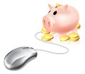 Computer mouse connected to piggy bank a with gold coins concept for esavings account or internet banking Royalty Free Stock Images