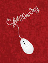 Computer mouse cyber monday red background illustration with cord forming words on texture Royalty Free Stock Image