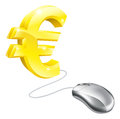 Computer mouse euro concept of connected to a gold sign Stock Photo
