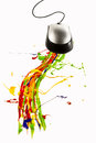 Computer mouse making multicolor paint splash Stock Photo