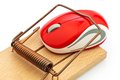 Computer mouse in mousetrap Royalty Free Stock Photo