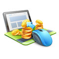 Computer mouse pointing coins in direction of tablet Royalty Free Stock Photo