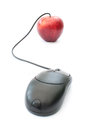 Computer mouse and red apple Royalty Free Stock Images
