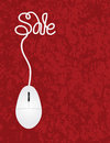 Computer mouse sale red background illustration with cord forming word for online promotion on texture Stock Photos