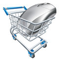 Computer mouse in trolley a a shopping or cart concept for internet shopping online or buying technology Royalty Free Stock Images