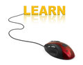 Computer mouse and word Learn Stock Image