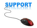 Computer mouse and word support business concept Stock Image