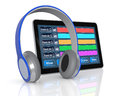 Computer music software tablet pc with digital audio and headphones d render Royalty Free Stock Photos